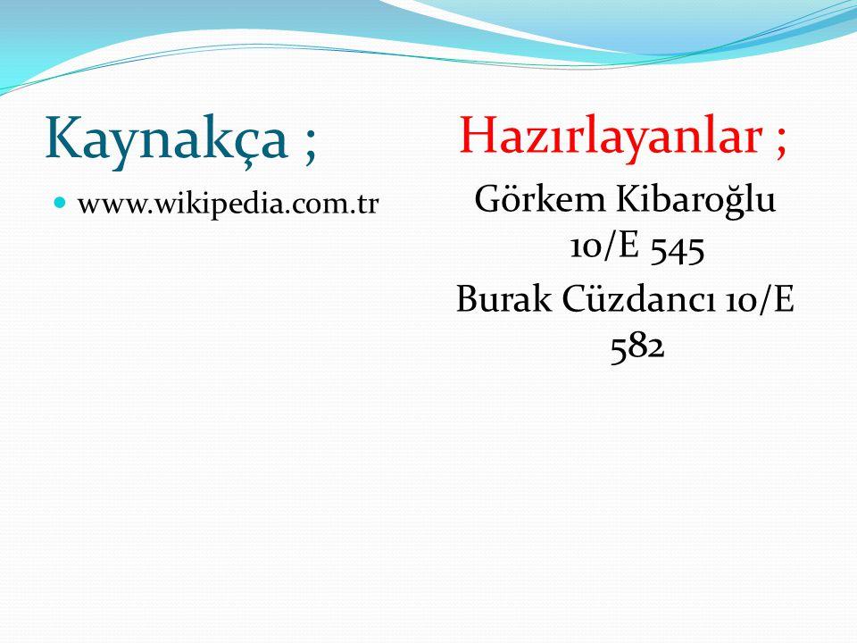 Kaynakça ; www.wikipedia.com.tr Hazırlayanlar ; Görkem Kibaroğlu 10/E 545 Burak Cüzdancı 10/E 582