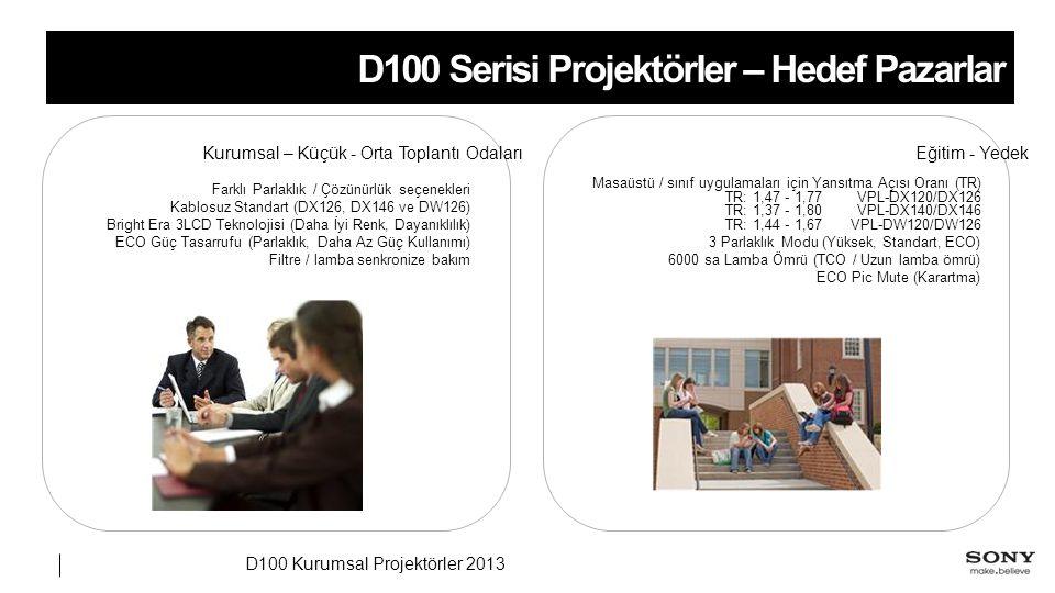 D100 Kurumsal Projektörler 2013 D100 Serisi Projektörler – Hedef Pazarlar Eğitim - Yedek Masaüstü / sınıf uygulamaları için Yansıtma Açısı Oranı (TR) VPL-DX120/DX126TR: 1,47 - 1,77 VPL-DX140/DX146TR: 1,37 - 1,80 VPL-DW120/DW126TR: 1,44 - 1,67 3 Parlaklık Modu (Yüksek, Standart, ECO) 6000 sa Lamba Ömrü (TCO / Uzun lamba ömrü) ECO Pic Mute (Karartma) Kurumsal – Küçük - Orta Toplantı Odaları Farklı Parlaklık / Çözünürlük seçenekleri Kablosuz Standart (DX126, DX146 ve DW126) Bright Era 3LCD Teknolojisi (Daha İyi Renk, Dayanıklılık) ECO Güç Tasarrufu (Parlaklık, Daha Az Güç Kullanımı) Filtre / lamba senkronize bakım