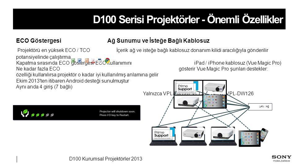 D100 Kurumsal Projektörler 2013 D100 Serisi Projektörler - Önemli Özellikler Ağ Sunumu ve İsteğe Bağlı KablosuzECO Göstergesi İçerik ağ ve isteğe bağlı kablosuz donanım kilidi aracılığıyla gönderilir Projektörü en yüksek ECO / TCO potansiyelinde çalıştırma iPad / iPhone kablosuz (Vue Magic Pro)Kapatma sırasında ECO göstergesi ECO kullanımını gösterir Vue Magic Pro şunları destekler: Ne kadar fazla ECO özelliği kullanılırsa projektör o kadar iyi kullanılmış anlamına gelir Ekim 2013 ten itibaren Android desteği sunulmuştur Aynı anda 4 giriş (7 bağlı) Yalnızca VPL-DX126, VPL-DX146 ve VPL-DW126 LAN / Ağ