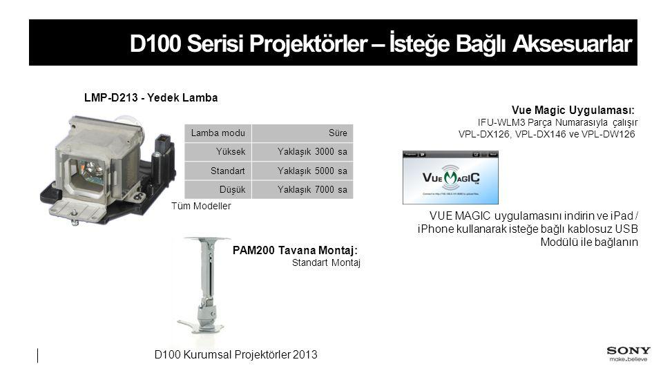 D100 Serisi Projektörler – İsteğe Bağlı Aksesuarlar LMP-D213 - Yedek Lamba Lamba moduSüre YüksekYaklaşık 3000 sa StandartYaklaşık 5000 sa DüşükYaklaşık 7000 sa Vue Magic Uygulaması: IFU-WLM3 Parça Numarasıyla çalışır VPL-DX126, VPL-DX146 ve VPL-DW126 Tüm Modeller VUE MAGIC uygulamasını indirin ve iPad / iPhone kullanarak isteğe bağlı kablosuz USB Modülü ile bağlanın PAM200 Tavana Montaj: Standart Montaj