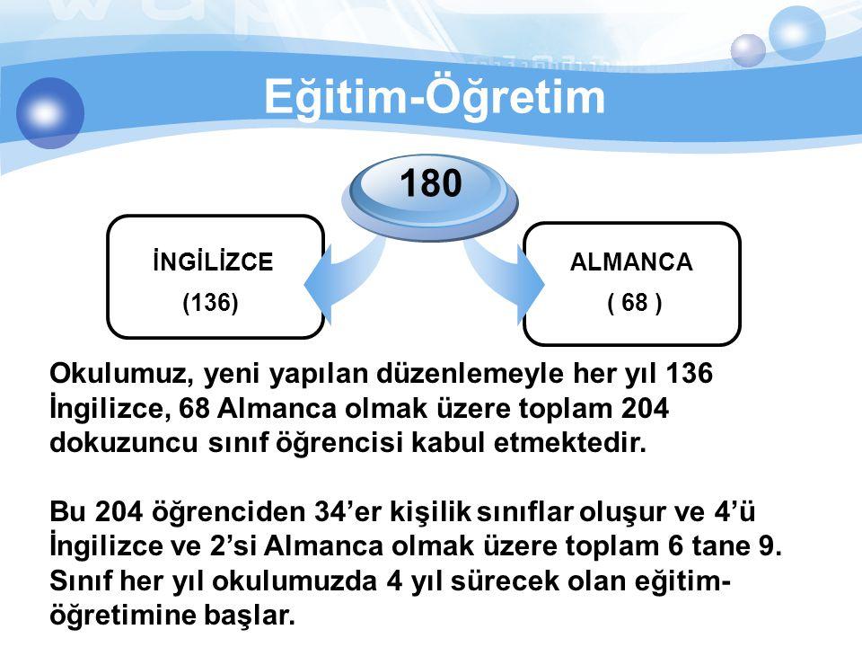 Eğitim-Öğretim İNGİLİZCE 180 ALMANCA (136)( 68 ) Okulumuz, yeni yapılan düzenlemeyle her yıl 136 İngilizce, 68 Almanca olmak üzere toplam 204 dokuzunc