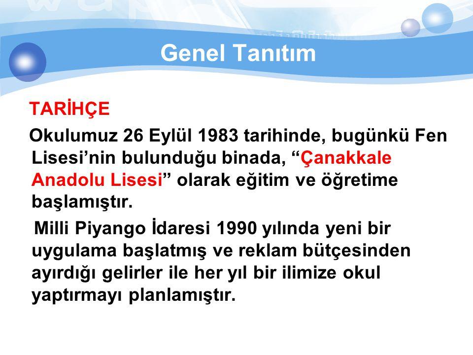 Genel Tanıtım Milli Piyango İdaresi, Her Yıl Bir İlde Okul uygulaması kapsamında ilimize okulumuzu kazandırmış ve 1989 yılında 9.