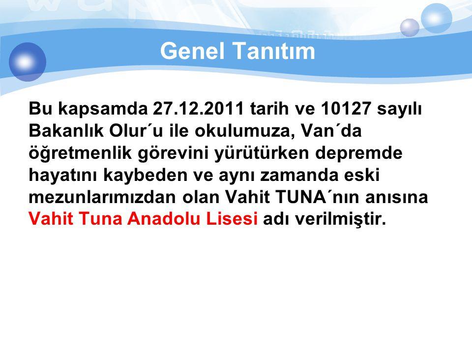 Genel Tanıtım Bu kapsamda 27.12.2011 tarih ve 10127 sayılı Bakanlık Olur´u ile okulumuza, Van´da öğretmenlik görevini yürütürken depremde hayatını kay
