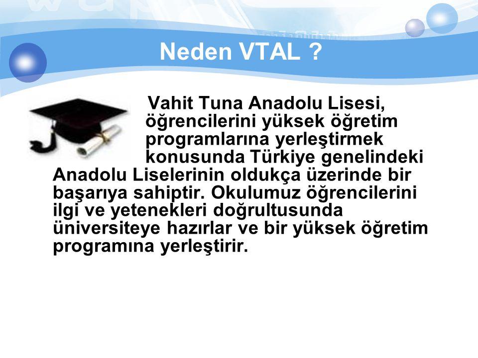 Neden VTAL ? Vahit Tuna Anadolu Lisesi, öğrencilerini yüksek öğretim programlarına yerleştirmek konusunda Türkiye genelindeki Anadolu Liselerinin oldu
