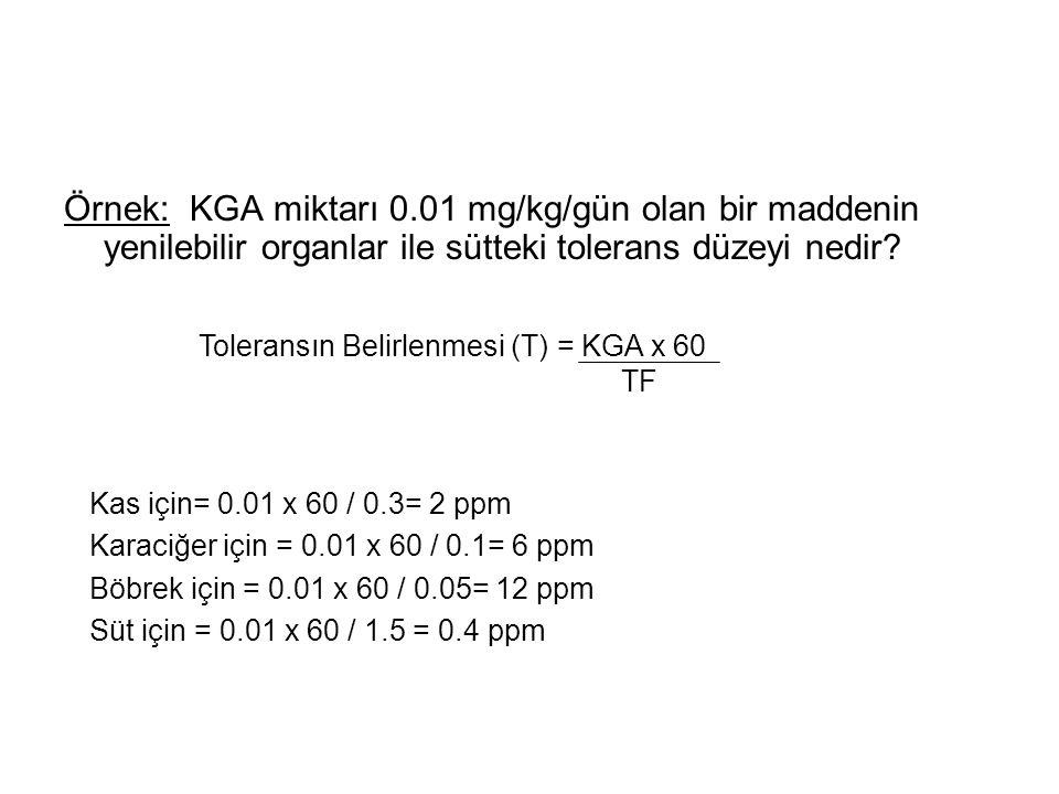 Örnek: KGA miktarı 0.01 mg/kg/gün olan bir maddenin yenilebilir organlar ile sütteki tolerans düzeyi nedir.