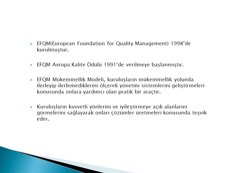  EFQM(European Foundation for Quality Management) 1998'de kurulmuştur.  EFQM Avrupa Kalite Ödülü 1991'de verilmeye başlanmıştır.  EFQM Mükemmellik