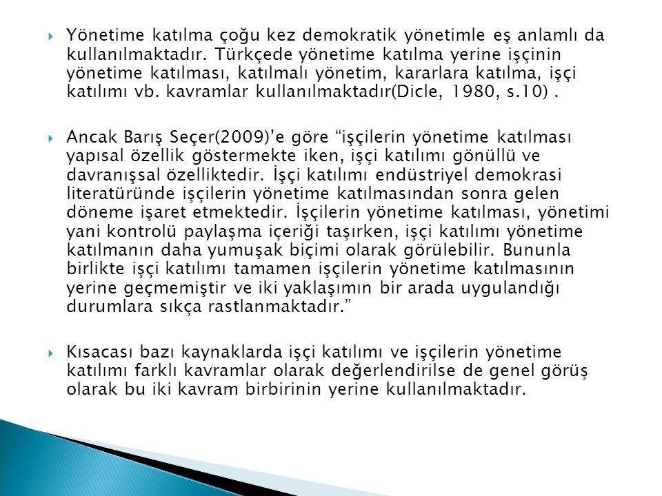  Yönetime katılma çoğu kez demokratik yönetimle eş anlamlı da kullanılmaktadır. Türkçede yönetime katılma yerine işçinin yönetime katılması, katılmal