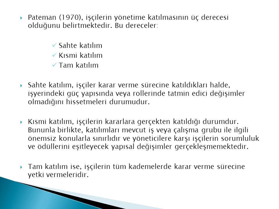  Pateman (1970), işçilerin yönetime katılmasının üç derecesi olduğunu belirtmektedir. Bu dereceler: Sahte katılım Kısmi katılım Tam katılım  Sahte k