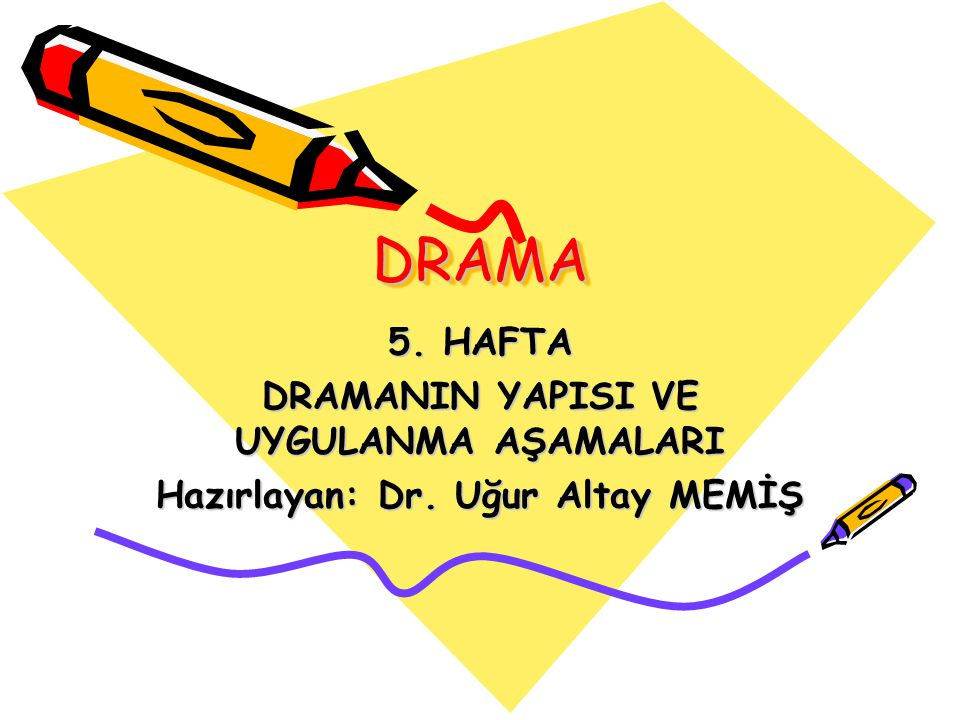 DRAMADRAMA 5. HAFTA DRAMANIN YAPISI VE UYGULANMA AŞAMALARI Hazırlayan: Dr. Uğur Altay MEMİŞ