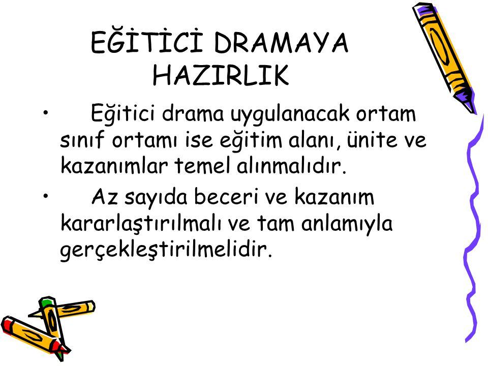 EĞİTİCİ DRAMAYA HAZIRLIK Eğitici drama uygulanacak ortam sınıf ortamı ise eğitim alanı, ünite ve kazanımlar temel alınmalıdır.