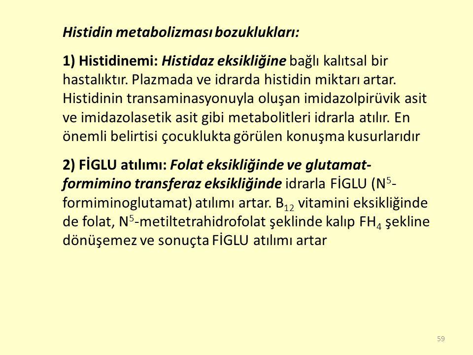 59 Histidin metabolizması bozuklukları: 1) Histidinemi: Histidaz eksikliğine bağlı kalıtsal bir hastalıktır. Plazmada ve idrarda histidin miktarı arta