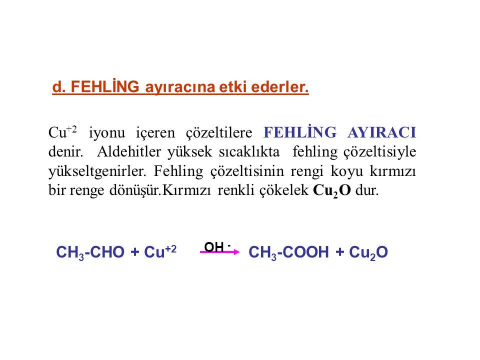 Cu +2 iyonu içeren çözeltilere FEHLİNG AYIRACI denir.