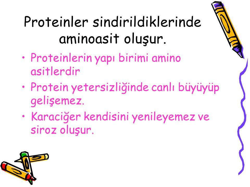 Proteinler sindirildiklerinde aminoasit oluşur. Proteinlerin yapı birimi amino asitlerdir Protein yetersizliğinde canlı büyüyüp gelişemez. Karaciğer k