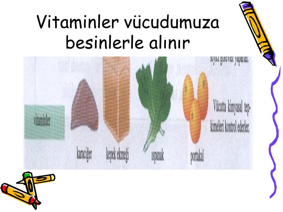 Vitaminler vücudumuza besinlerle alınır