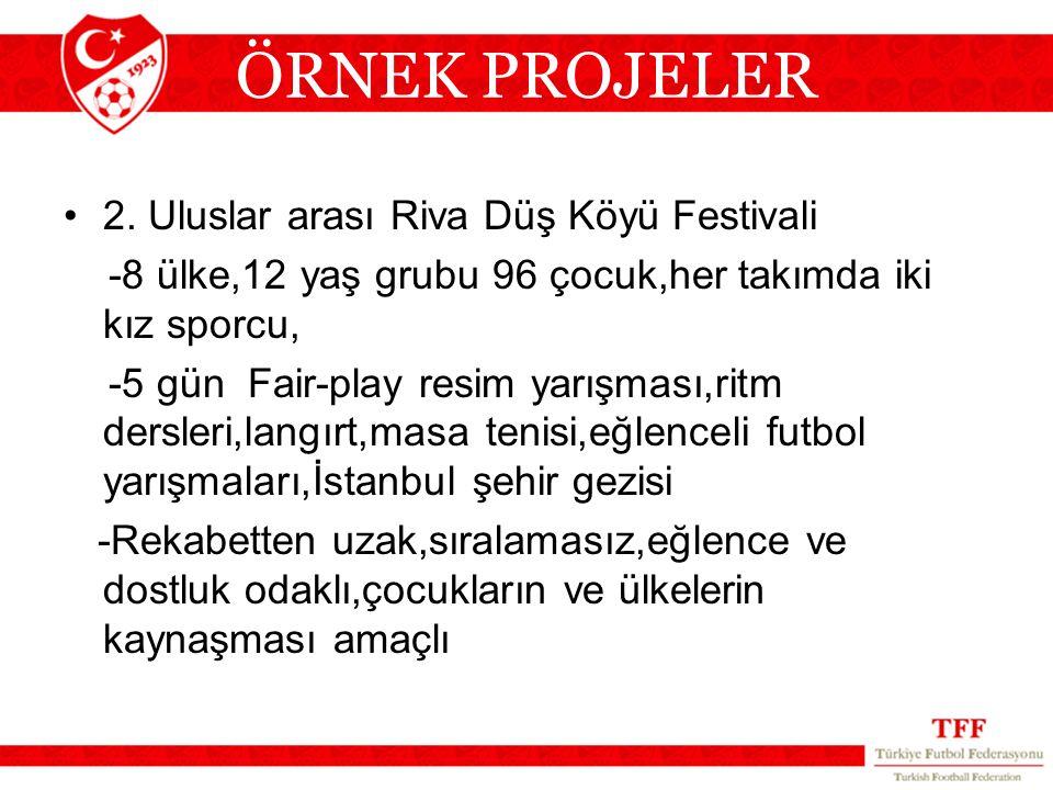 2. Uluslar arası Riva Düş Köyü Festivali -8 ülke,12 yaş grubu 96 çocuk,her takımda iki kız sporcu, -5 gün Fair-play resim yarışması,ritm dersleri,lang