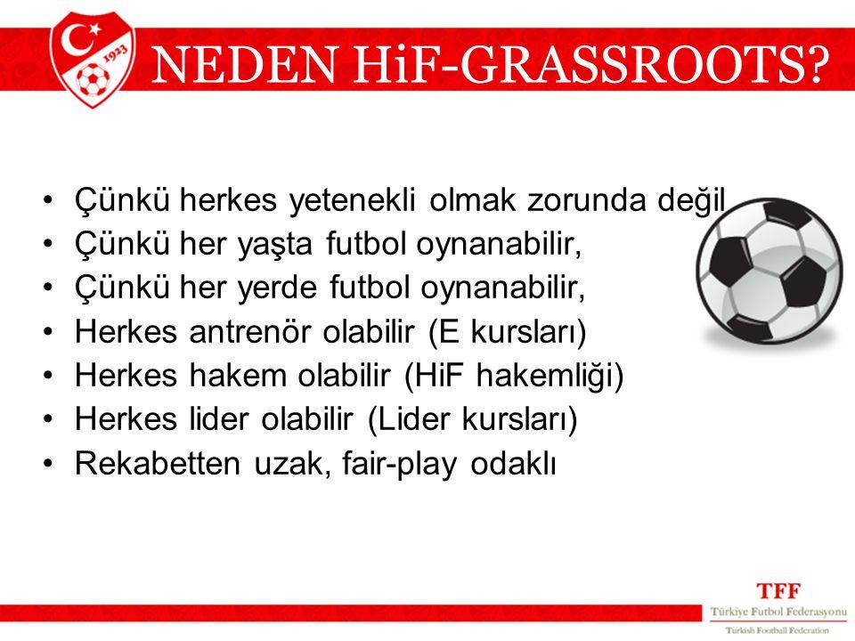 NEDEN HiF-GRASSROOTS? Çünkü herkes yetenekli olmak zorunda değil Çünkü her yaşta futbol oynanabilir, Çünkü her yerde futbol oynanabilir, Herkes antren