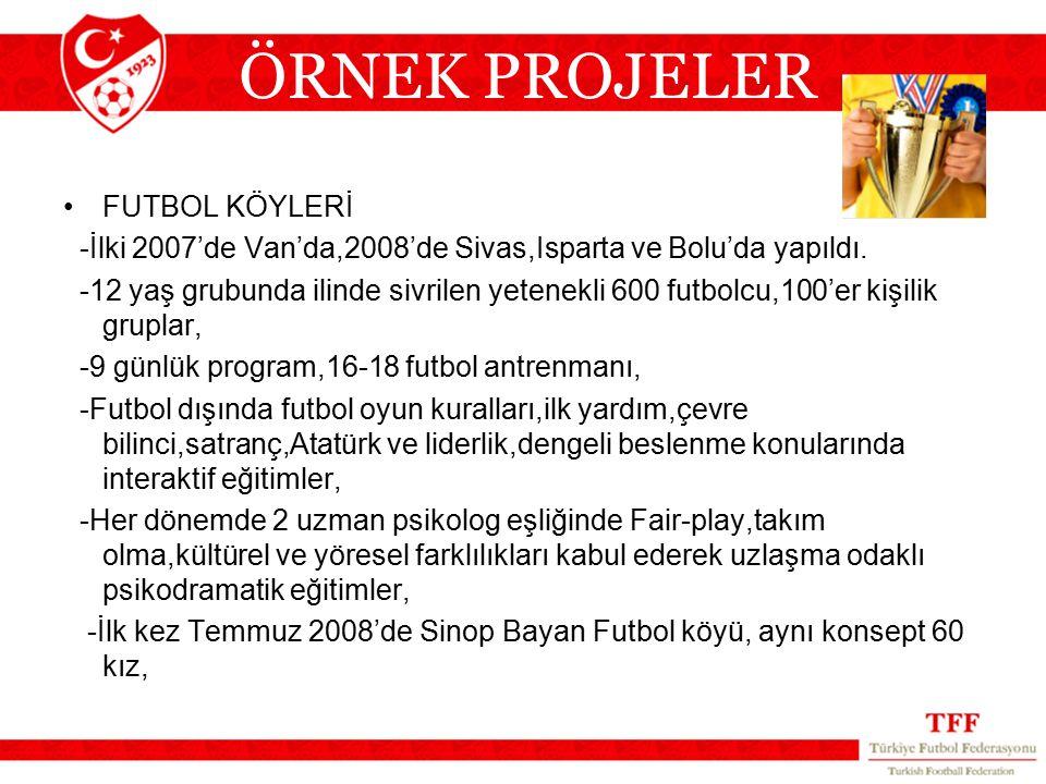 FUTBOL KÖYLERİ -İlki 2007'de Van'da,2008'de Sivas,Isparta ve Bolu'da yapıldı. -12 yaş grubunda ilinde sivrilen yetenekli 600 futbolcu,100'er kişilik g