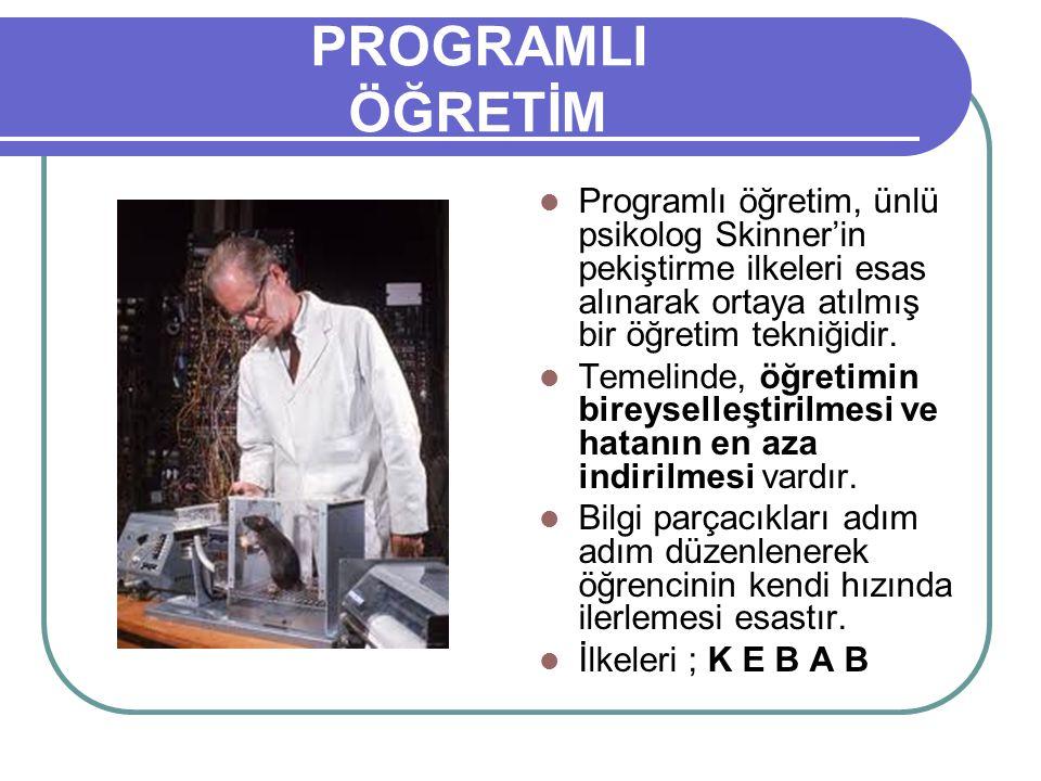 PROGRAMLI ÖĞRETİM Programlı öğretim, ünlü psikolog Skinner'in pekiştirme ilkeleri esas alınarak ortaya atılmış bir öğretim tekniğidir. Temelinde, öğre