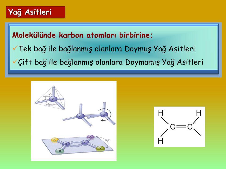 Molekülünde karbon atomları birbirine; Tek bağ ile bağlanmış olanlara Doymuş Yağ Asitleri Çift bağ ile bağlanmış olanlara Doymamış Yağ Asitleri Yağ As