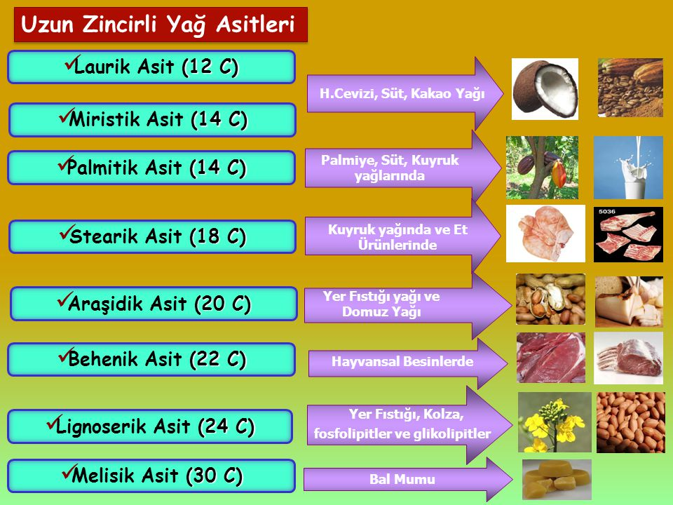 Uzun Zincirli Yağ Asitleri (12 C) Laurik Asit (12 C) (14 C) Miristik Asit (14 C) H.Cevizi, Süt, Kakao Yağı (14 C) Palmitik Asit (14 C) Palmiye, Süt, K