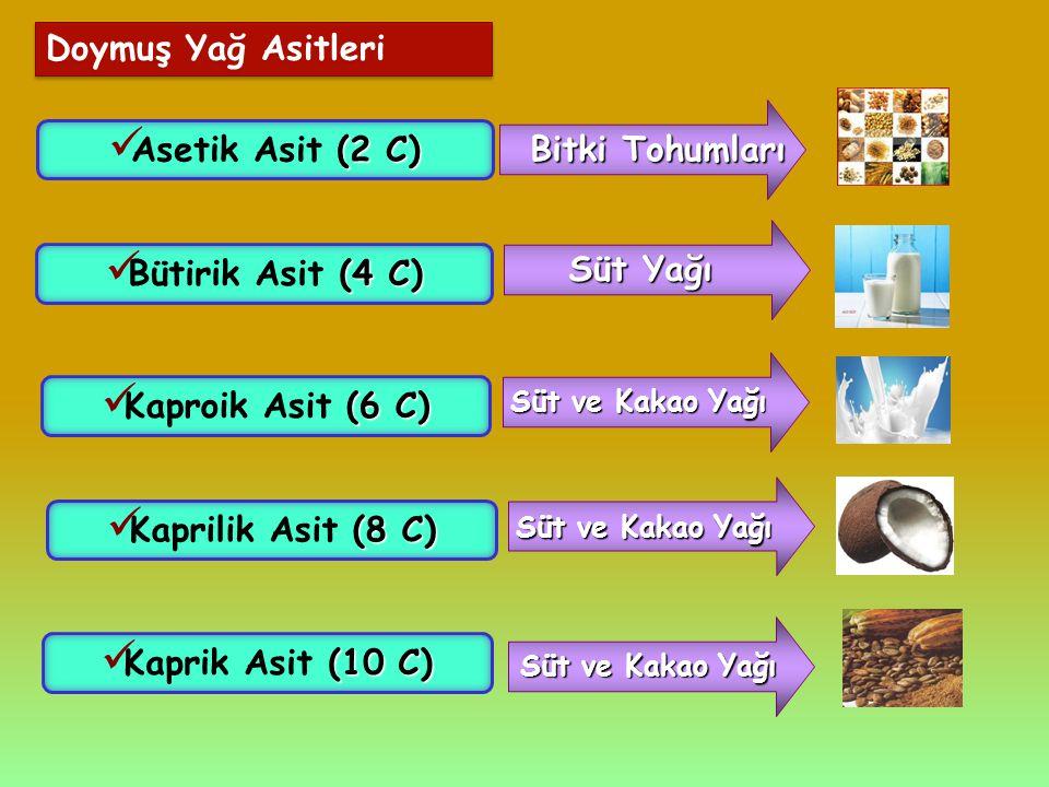Doymuş Yağ Asitleri (2 C) Asetik Asit (2 C) Bitki Tohumları (4 C) Bütirik Asit (4 C) Süt Yağı (8 C) Kaprilik Asit (8 C) (10 C) Kaprik Asit (10 C) Süt