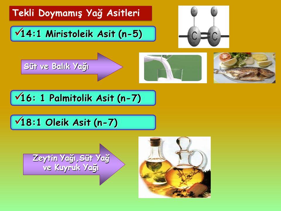 Tekli Doymamış Yağ Asitleri 14:1 Miristoleik Asit(n-5) 14:1 Miristoleik Asit (n-5) Süt ve Balık Yağı 16: 1 Palmitolik Asit(n-7) 16: 1 Palmitolik Asit