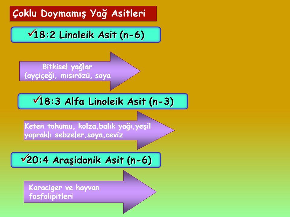Çoklu Doymamış Yağ Asitleri 18:2 Linoleik Asit(n-6) 18:2 Linoleik Asit (n-6) Bitkisel yağlar (ayçiçeği, mısırözü, soya 18:3 Alfa Linoleik Asit(n-3) 18