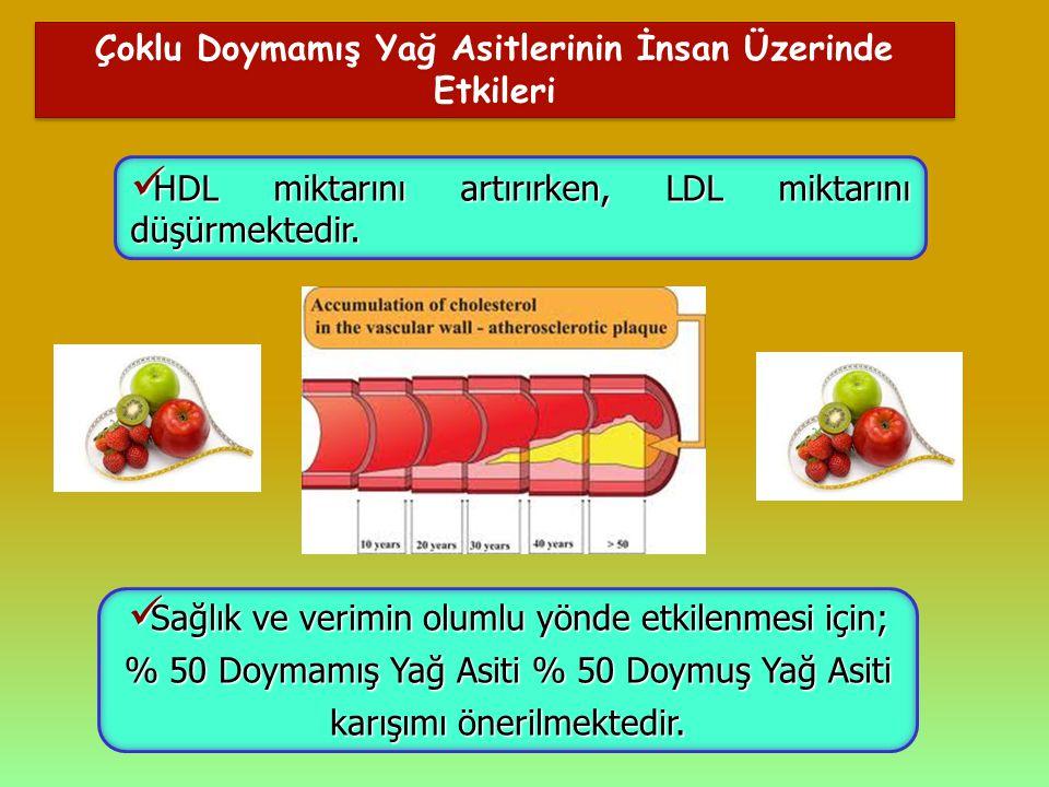 Çoklu Doymamış Yağ Asitlerinin İnsan Üzerinde Etkileri HDL miktarını artırırken, LDL miktarını düşürmektedir. HDL miktarını artırırken, LDL miktarını
