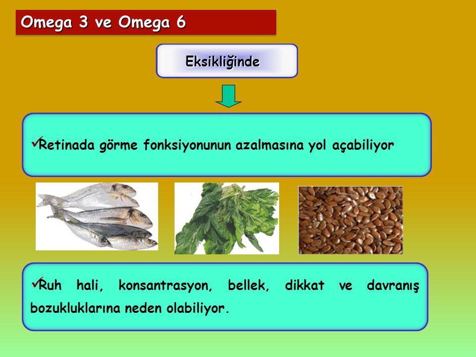 Omega 3 ve Omega 6 Eksikliğinde Ruh hali, konsantrasyon, bellek, dikkat ve davranış bozukluklarına neden olabiliyor. Retinada görme fonksiyonunun azal