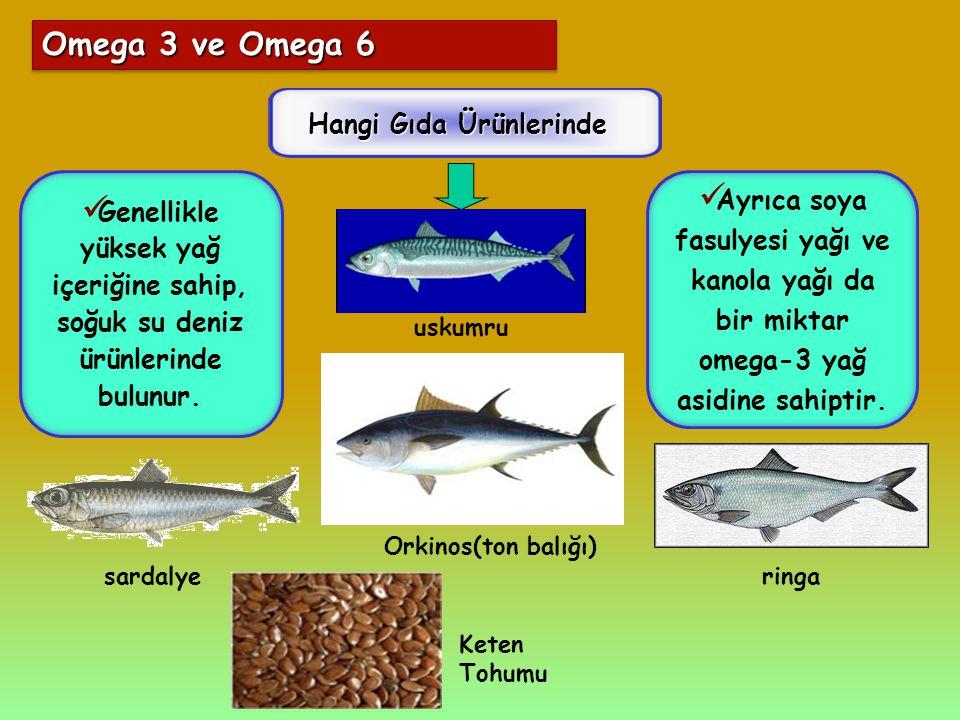 Omega 3 ve Omega 6 Hangi Gıda Ürünlerinde Ayrıca soya fasulyesi yağı ve kanola yağı da bir miktar omega-3 yağ asidine sahiptir. Genellikle yüksek yağ
