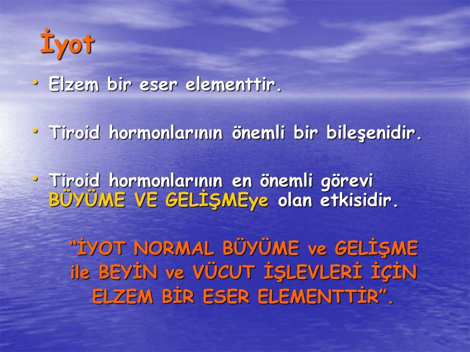 İyot Elzem bir eser elementtir. Elzem bir eser elementtir. Tiroid hormonlarının önemli bir bileşenidir. Tiroid hormonlarının önemli bir bileşenidir. T