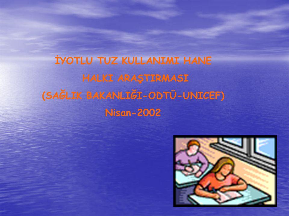 İYOTLU TUZ KULLANIMI HANE HALKI ARAŞTIRMASI (SAĞLIK BAKANLIĞI-ODTÜ-UNICEF) Nisan-2002