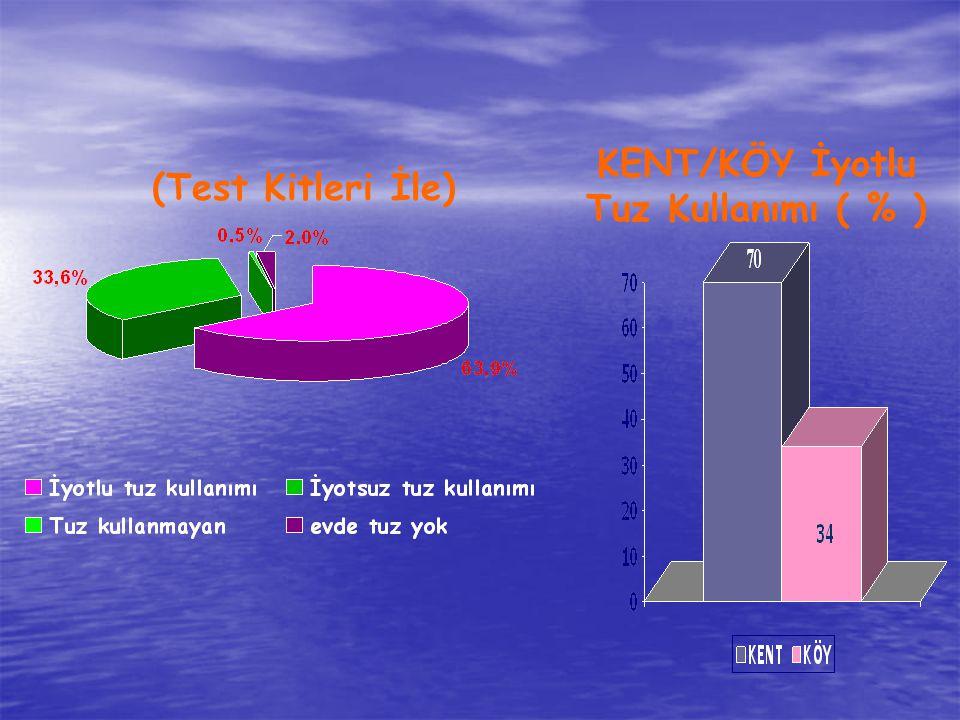 (Test Kitleri İle) KENT/KÖY İyotlu Tuz Kullanımı ( % )