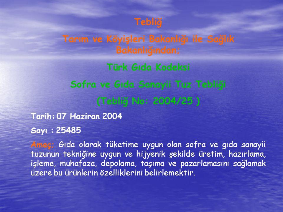 Tebliğ Tarım ve Köyişleri Bakanlığı ile Sağlık Bakanlığından; Türk Gıda Kodeksi Sofra ve Gıda Sanayii Tuz Tebliği (Tebliğ No: 2004/25 ) Tarih: 07 Hazi
