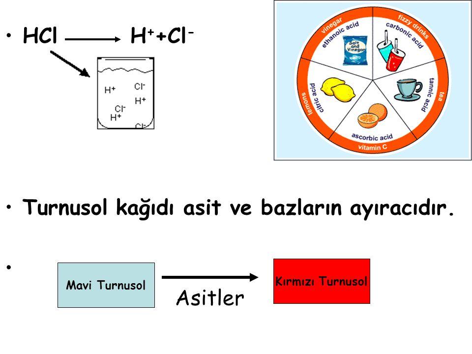 HCl H + +Cl - Turnusol kağıdı asit ve bazların ayıracıdır. Asitler Mavi Turnusol Kırmızı Turnusol