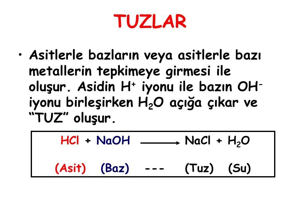 TUZLAR Asitlerle bazların veya asitlerle bazı metallerin tepkimeye girmesi ile oluşur. Asidin H + iyonu ile bazın OH - iyonu birleşirken H 2 O açığa ç