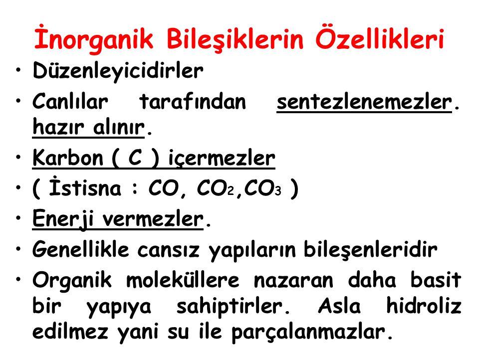 İnorganik Bileşiklerin Özellikleri Düzenleyicidirler Canlılar tarafından sentezlenemezler. hazır alınır. Karbon ( C ) içermezler ( İstisna : CO, CO 2,