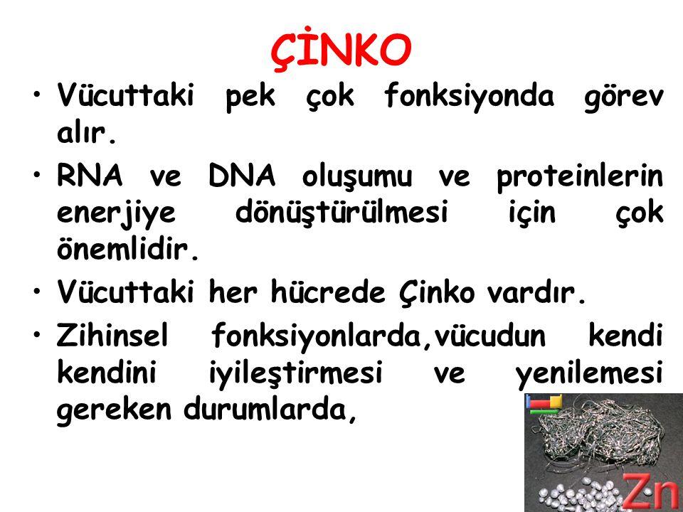 ÇİNKO Vücuttaki pek çok fonksiyonda görev alır. RNA ve DNA oluşumu ve proteinlerin enerjiye dönüştürülmesi için çok önemlidir. Vücuttaki her hücrede Ç