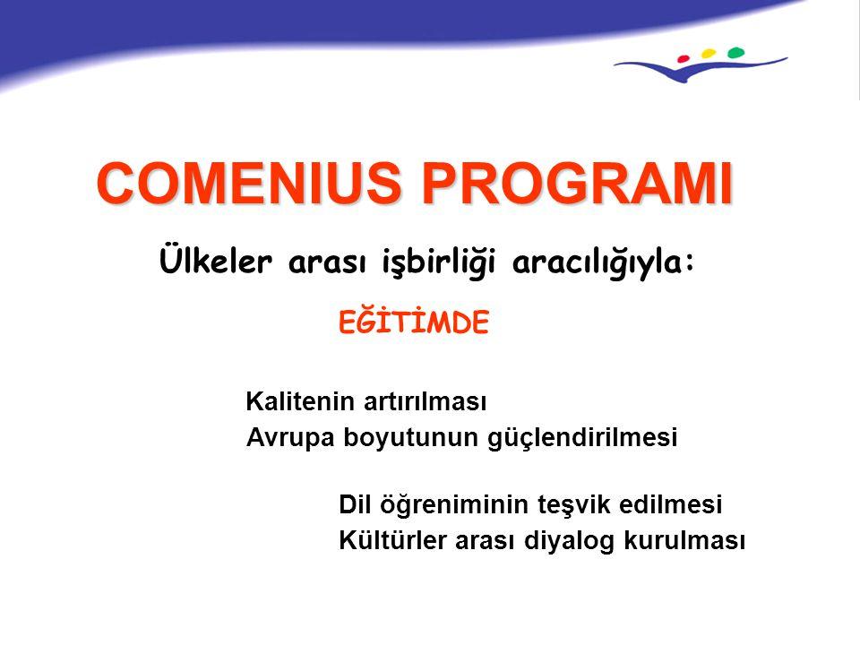 COMENIUS PROGRAMI Kalitenin artırılması Ülkeler arası işbirliği aracılığıyla: Avrupa boyutunun güçlendirilmesi EĞİTİMDE Dil öğreniminin teşvik edilmes