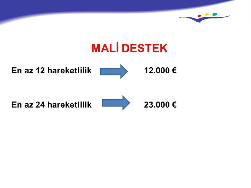 MALİ DESTEK En az 12 hareketlilik 12.000 € En az 24 hareketlilik 23.000 €