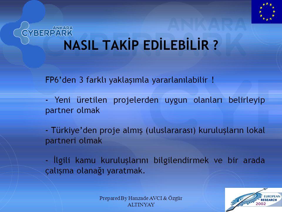 Prepared By Hanzade AVCI & Özgür ALTINYAY NASIL TAKİP EDİLEBİLİR ? FP6'den 3 farklı yaklaşımla yararlanılabilir ! - Yeni üretilen projelerden uygun ol