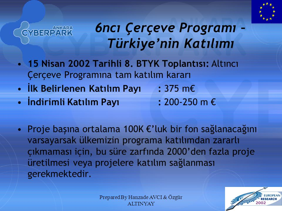 Prepared By Hanzade AVCI & Özgür ALTINYAY 6ncı Çerçeve Programı – Türkiye'nin Katılımı 15 Nisan 2002 Tarihli 8. BTYK Toplantısı: Altıncı Çerçeve Progr