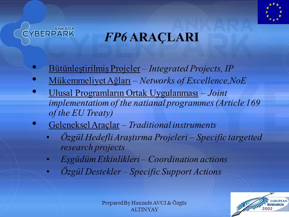 Prepared By Hanzade AVCI & Özgür ALTINYAY FP6 YENİ ARAÇLAR Mükemmeliyet Ağları (Networks of Excellence) Belli bir araştırma alanında ve bir ortak etkinlik programı dahilinde, Avrupa mevcut araştırma kaynaklarını biraraya getirmek Üniversiteler, araştırma merkezleri ve iş dünyasının kapasitelerinin koordinasyonunu ve kalıcı entegrasyonunu sağlamak Uzun vadeli ve çok-disiplinli araştırma programları Entegre Projeler (Integrated Projects) Temel ve uygulamalı araştırma, teknoloji geliştirme, tanıtım ve yaygınlaştırma gibi etkinliklerin bütünleştiği projeler Hedef odaklı (ürünler, servisler veya süreçler için kullanılabilecek sonuçlar)