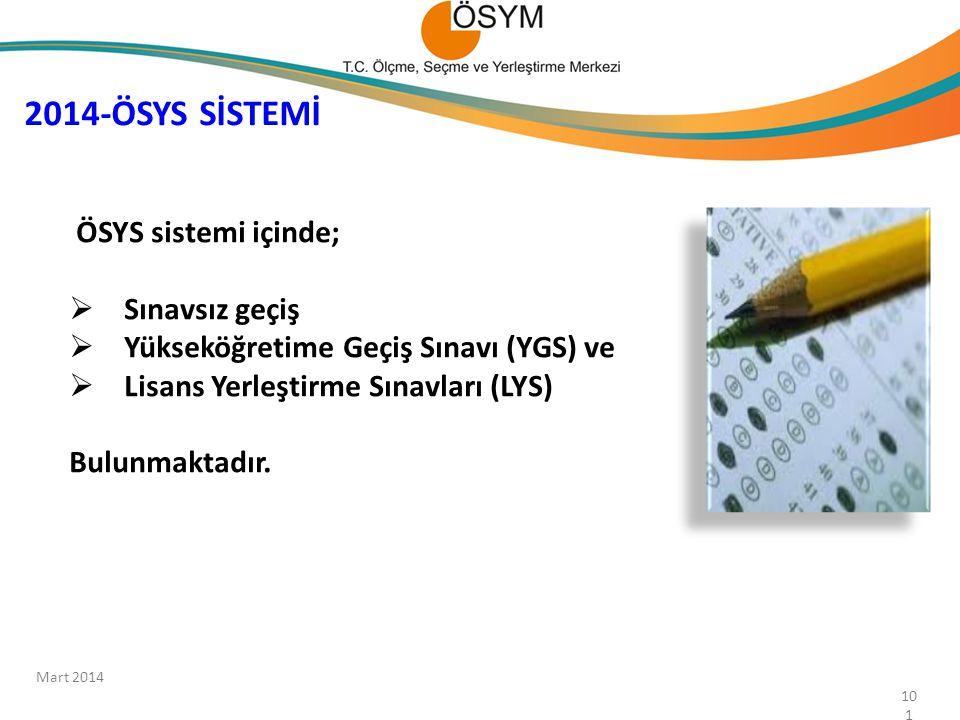 2014-ÖSYS SİSTEMİ ÖSYS sistemi içinde;  Sınavsız geçiş  Yükseköğretime Geçiş Sınavı (YGS) ve  Lisans Yerleştirme Sınavları (LYS) Bulunmaktadır. 101