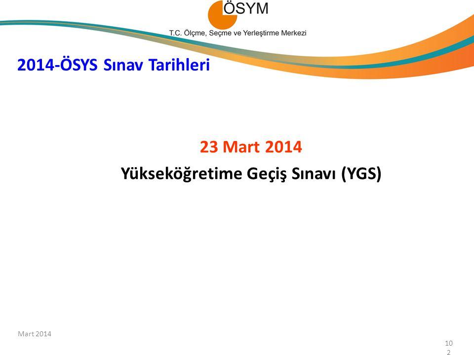 23 Mart 2014 Yükseköğretime Geçiş Sınavı (YGS) 2014-ÖSYS Sınav Tarihleri 102 Mart 2014