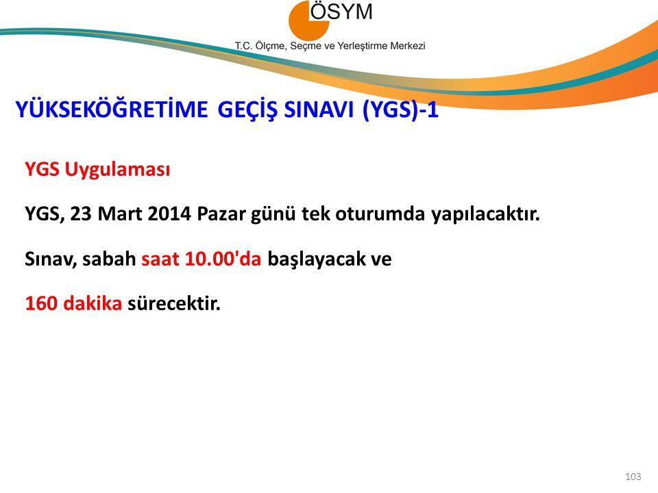 YGS Uygulaması YGS, 23 Mart 2014 Pazar günü tek oturumda yapılacaktır. Sınav, sabah saat 10.00'da başlayacak ve 160 dakika sürecektir. YÜKSEKÖĞRETİME