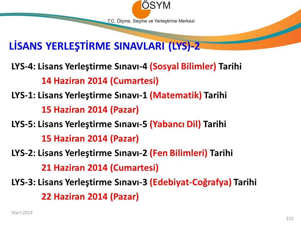 LİSANS YERLEŞTİRME SINAVLARI (LYS)-2 LYS-4: Lisans Yerleştirme Sınavı-4 (Sosyal Bilimler) Tarihi 14 Haziran 2014 (Cumartesi) LYS-1: Lisans Yerleştirme
