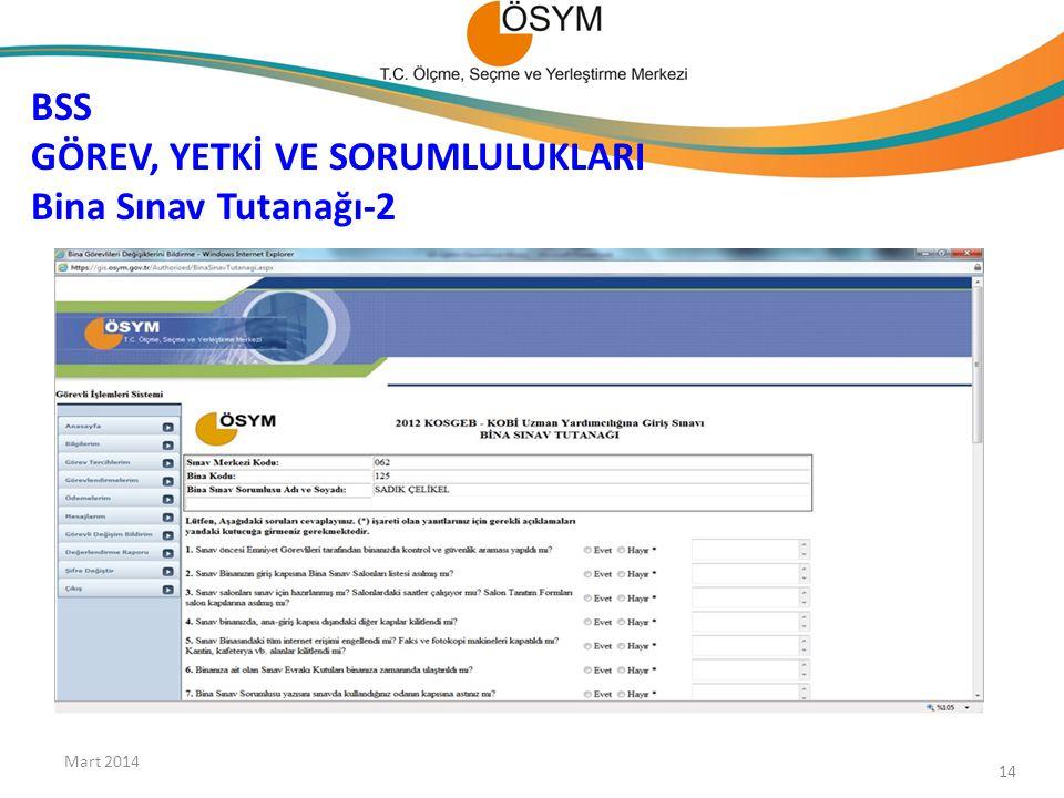 BSS GÖREV, YETKİ VE SORUMLULUKLARI Bina Sınav Tutanağı-2 Mart 2014 14