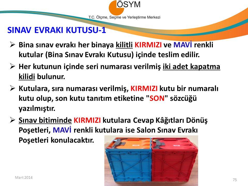 SINAV EVRAKI KUTUSU-1  Bina sınav evrakı her binaya kilitli KIRMIZI ve MAVİ renkli kutular (Bina Sınav Evrakı Kutusu) içinde teslim edilir.  Her kut