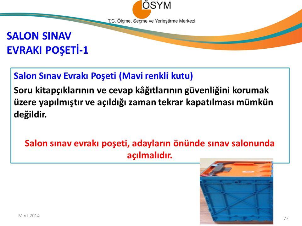 SALON SINAV EVRAKI POŞETİ-1 Salon Sınav Evrakı Poşeti (Mavi renkli kutu) Soru kitapçıklarının ve cevap kâğıtlarının güvenliğini korumak üzere yapılmış